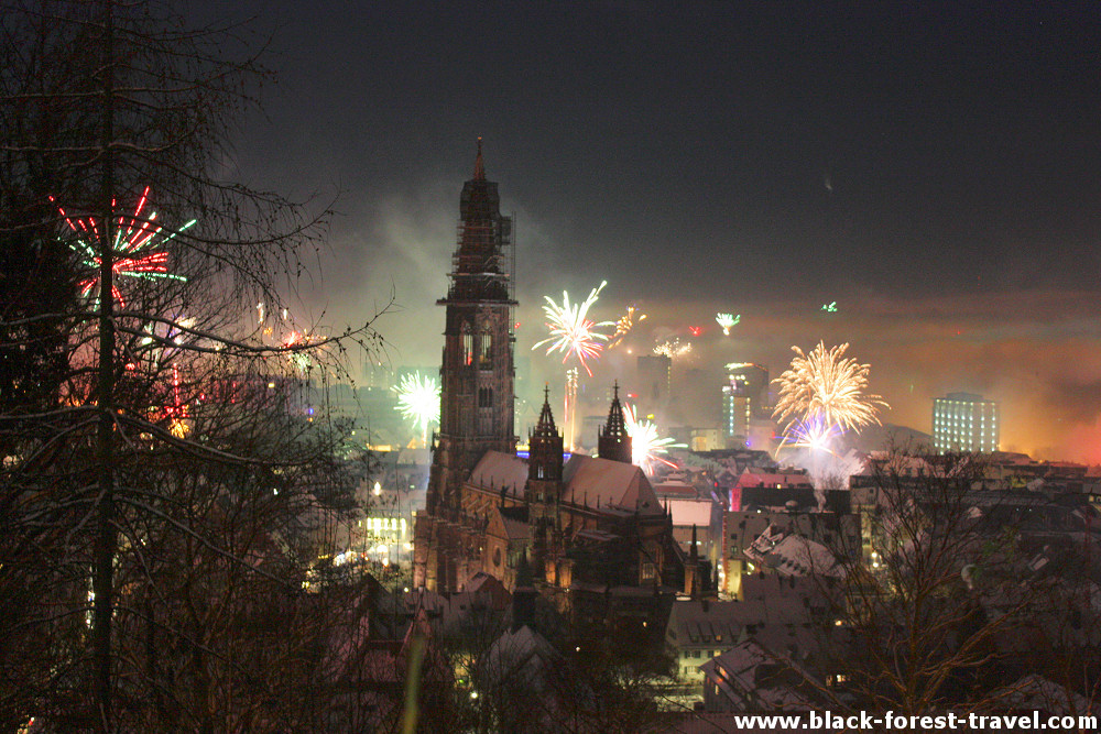 New Year's fireworks in Freiburg