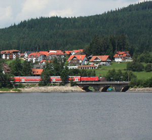 Train near the shores of Lake Schluchsee